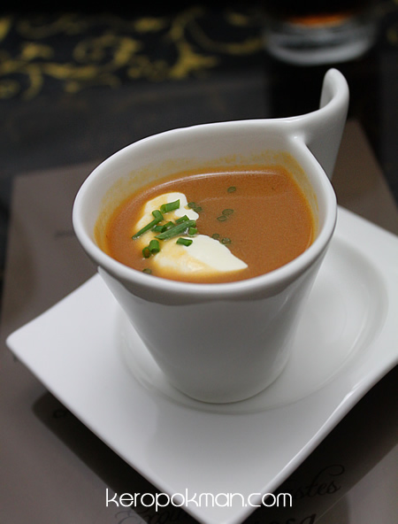 Coral Crab Bisque with Sour Cream