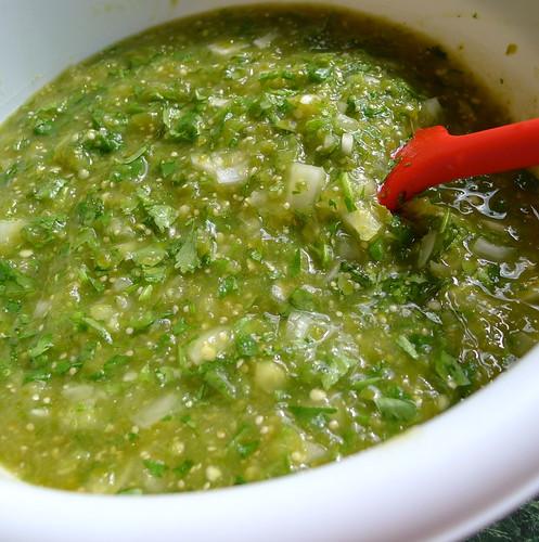 Homemade tomatillo salsa