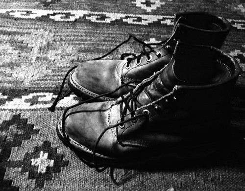 Old boots_b&w