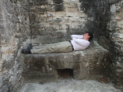 Taking a nap on an Incan bed