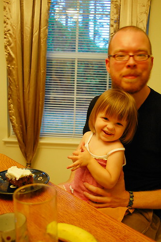 Eating cake with daddy.