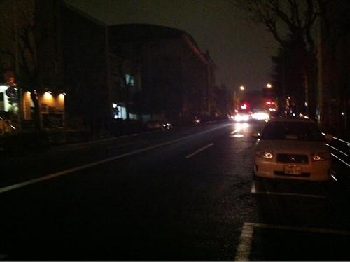Muchas farolas apagadas en las calles de Shibuya