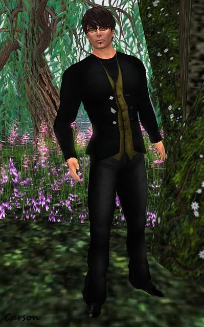 b[ELLEissima! Black Wool Pants, Black Olive Jacket & Vest, & Black Tee