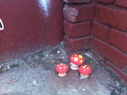 Cluster of 3 mushroom sculptures
