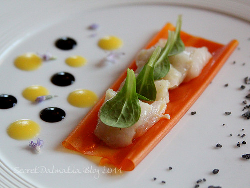 The fillet of flounder (raw) on the leaf of carrot with baby ruccola on top and reduction of acceto balsamico and tangerine juice. Vulcanic salt on the side...