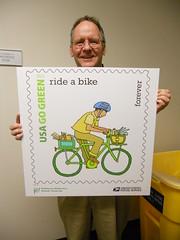 Bike Commute 40: Go Green Stamp by Rootchopper