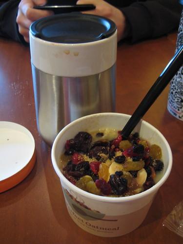 Starbucks perfect oatmeal; coffee