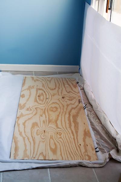 plywood on batting