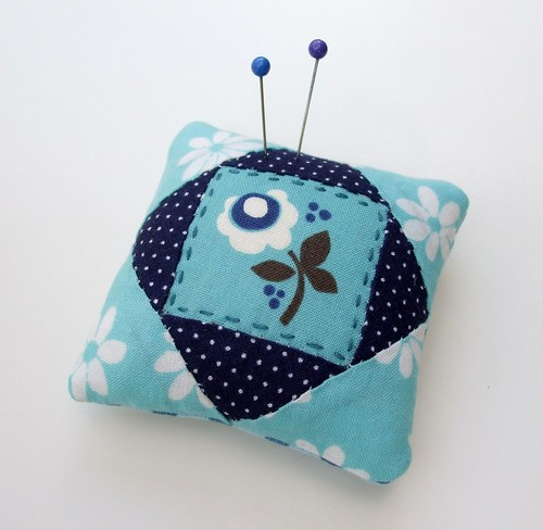 Blue flower pincushion
