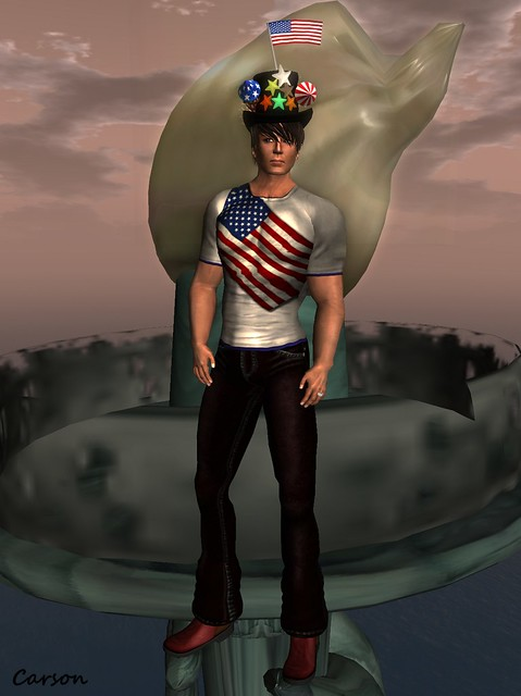 b[ELLE}issma! - Dark Red Leather Pants, Red Ankle Boots, 4th of July Graphix Tee Top Hat and Galen Skin.