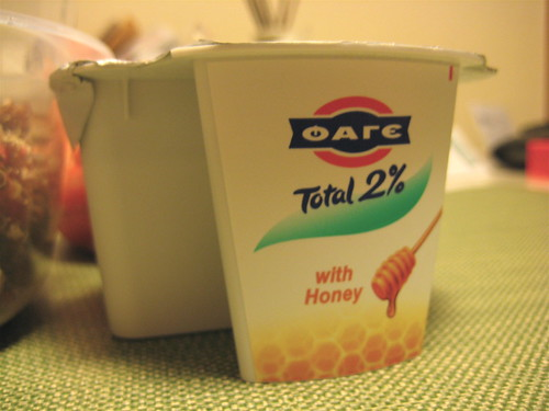 Fage yogurt with honey
