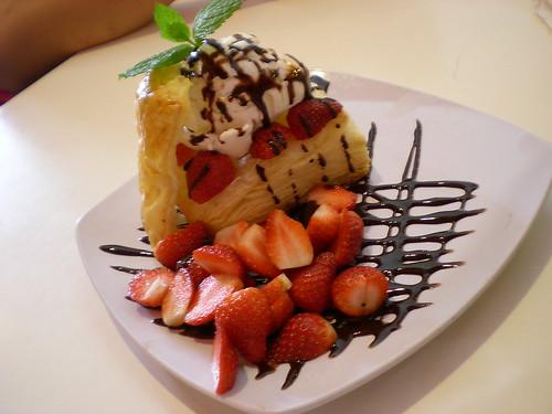 Strawberry ice cream boat
