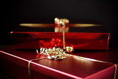 Sweets box in shimmer paper bright Red Foil