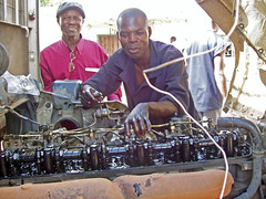 Auto mechanics class at Chawama Youth Resource...