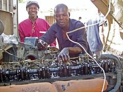 Auto mechanics class at Chawama Youth Resource...
