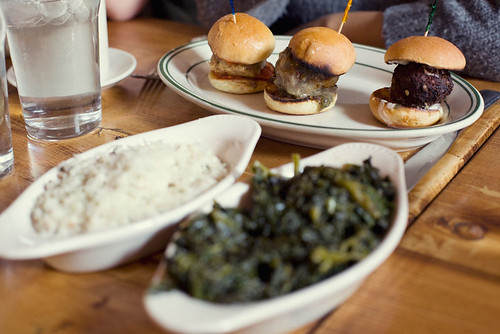 Sliders, risotto and kale