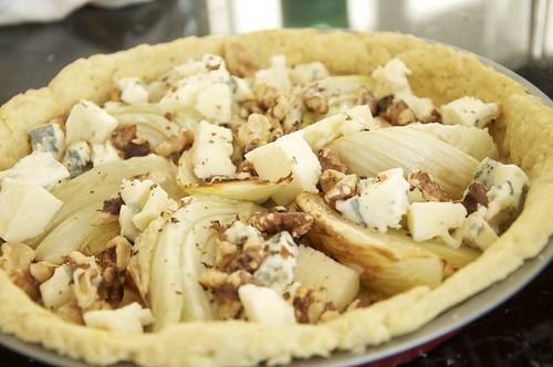 Fennel and Dolcelatte souffle tart