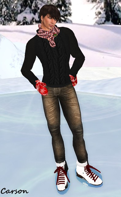 B&CCo. Black Cable Knit Sweater  GG INDI Baker Rusty Jeans BAIT Ardent-Minty Scarf GG Graffitiwear HOliday Mittens FF Tour (2)
