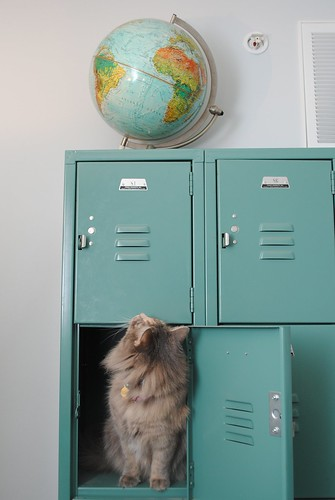Sandy checks out the lockers