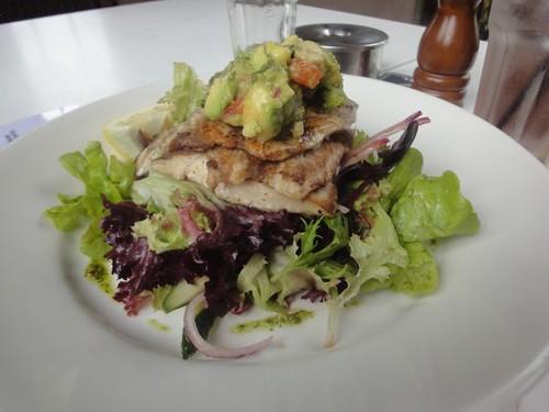 Coopers: Grilled barramundi, avocado salsa, pistachio nut and coriander pesto