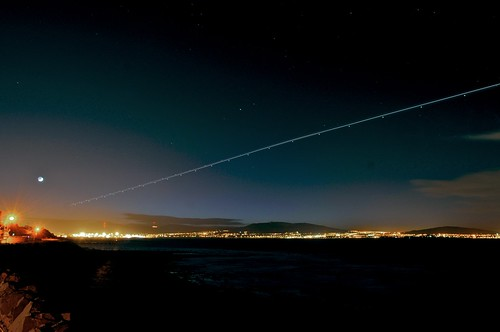 Light trails into Belfast City Airport