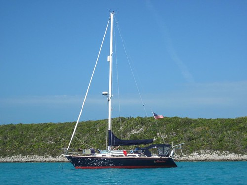 Moondance anchored off Sampson Cay