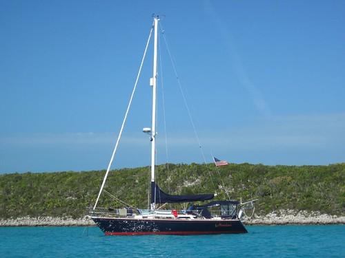 Moondance anchored off Sampson Cay