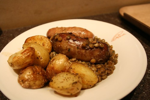 Princi Sausages and Lentils