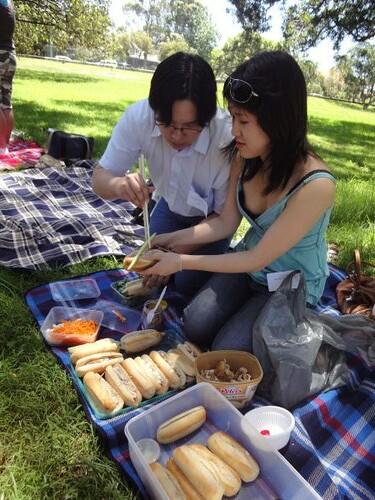 Tim and Christina assembling rolls