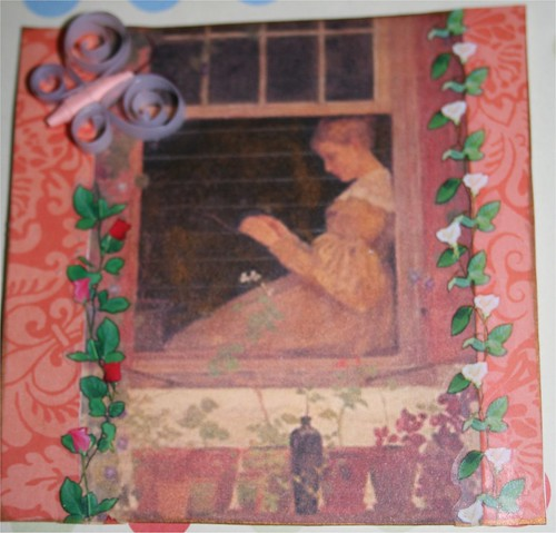 "Tending flowers 4"" x 4"" Collage Card"