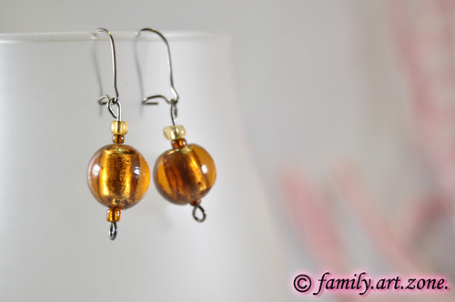unique handmade beads earrings - isolated beautiful jewelry