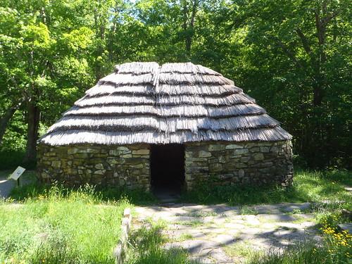 Replica Scottish crofter's hut at the Lone Shieling trail