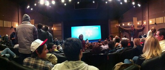 Finally made it into the Eccles for the premiere(?) of MY IDIOT BROTHER [rough panoramic photo]