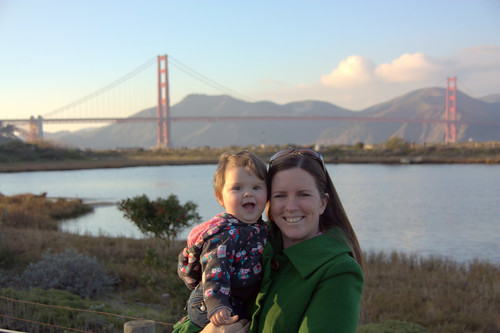 annie and mommy in front of golden gate bridge