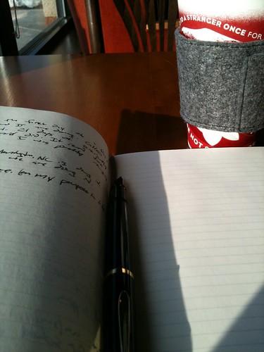 Starbucks Moleskine notebook and Pelikan m200 fountain pen