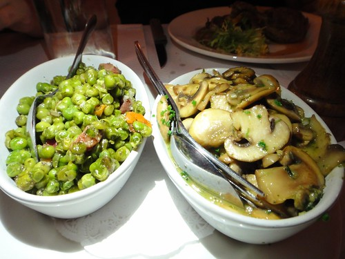 Green Peas, Carrot and Bacon Lardons , Sauteed Mushrooms