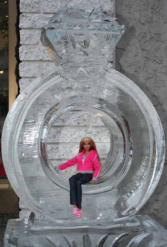 Cole Chills Out On A Diamond Ring Ice Sculpture