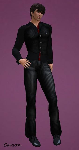 _b[ELLE] - Vest Suit - BlackRed