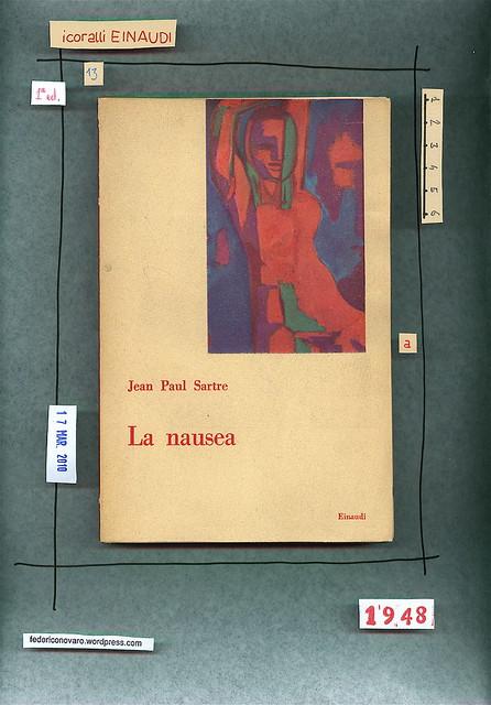 Jean Paul Sartre, La nausea. Einaudi 1948. Copertina