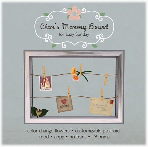 Clem's Memory Board for Lazy Sunday