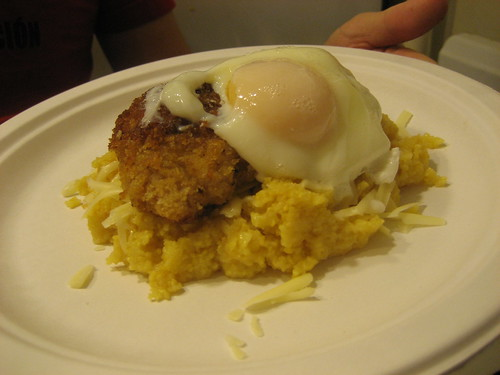 Poached egg, chicken cutlet and polenta