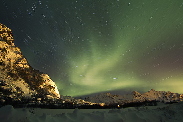 Aurora Borealis with star trails