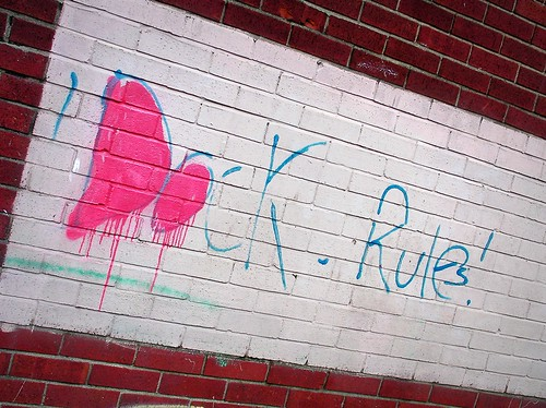 """Dock Rule"" graffiti in Grangetown, Cardiff"