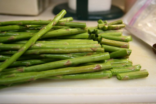 Slicing off the ends of the Asparagus