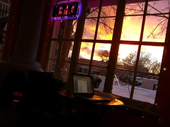 Sunset from cafe, Taos