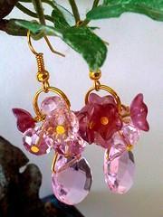 Pink Bouquet with a Clear Rosaline teardrop Dangle Earrings