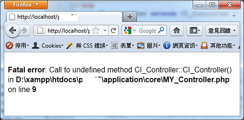 Call to undefined method CI_Controller::CI_Controller()