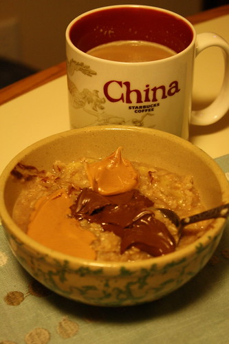 coffee (in China starbucks cup); oatmeal with pb and nutella