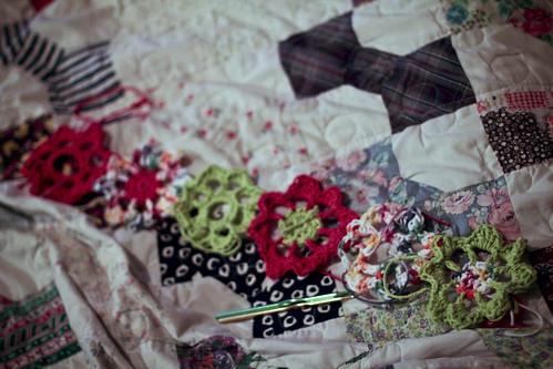 crochet garden scarf