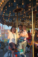 Chip, Anna and Olivia on the Carousel